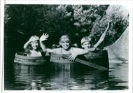 Tami Erin, Cory Crow and David Seaman, Jr. in a scene from the movie The New Adventures of Pippi Longstocking, 1988.