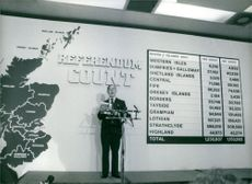Ronald Fraser, Chief Returning Officer reads the results of the Referendum on Government proposals for Scottish Devolution, March 1979 at St. Andrews House in Edinbrg.