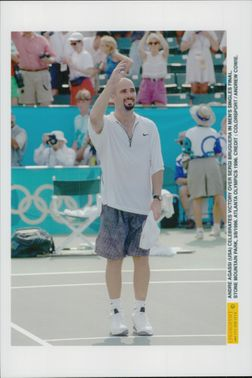 American tennis player Andre Agassi after victory in the final against Sergi Bruguera during the Olympic Games in Atlanta in 1996