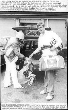 Buster Mottram arrives at the match against Austria in the Davis Cup in 1978