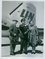 Elof Ahrle with wife, Birgit, during the inauguration of a new route to Halmstad, 1958.