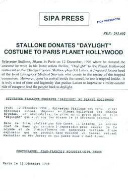 "Sylvester Stallone delivers his costume from the movie ""Daylight"" to Planet Hollywood in Paris"