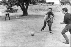 Sophia Loren playing football.