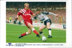 Mark Wright and Peter Davenport during the FA Cup final between Liverpool and Sunderland