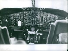 Direct overview of plane cockpit. 1959.