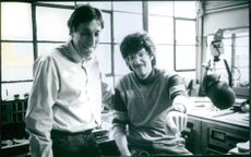 Producer Ivan Reitman and actor Howard Stern on the set of the 1997 film Private Parts.