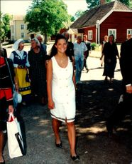 Crown Princess Victoria photographed when she visited the confirmation of her brother Carl Philip in Vadstena.