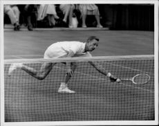 The tennis player Rod Laver in action
