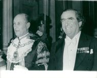 Lord Mayor Sir Robin Gillett and Denis Healey at a dinner at Mansion House