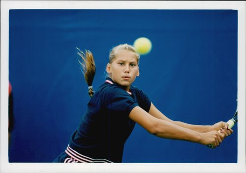 Russian tennis player Anna Kournikova competes in the US Open