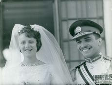 Hussein bin Talal and Princess Muna al-Hussein of Jordan wedding picture.