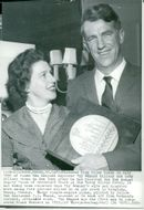 Edmund Hillary, Alpineist and Polar Scientist, here with his wife and Argosy Giant of Adventure Award