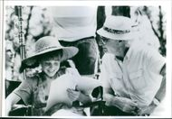 Tami Erin with director Ken Annakin on the set, from movie The New Adventures of Pippi Longstocking, 1988.