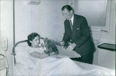 French Quintuplets Raymond Sambor visiting his Wife in Hospital. 1934