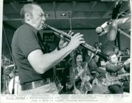 American jazz musician Woody Herman performs during the Åhus Festival.