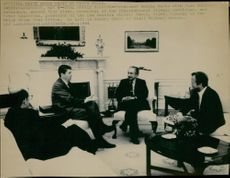 OS in Los Angeles 1984 - Bojkotten. President Reagan meets Juan Antonio Samaranch and Peter Ueberroth in the White House