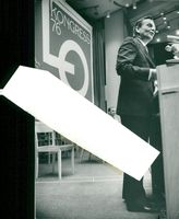 Prime Minister Olof Palme speaks at the LO Congress