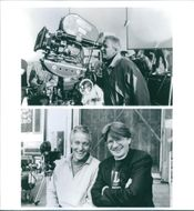 Pat Proft and Jim Abrahams on the set of a 1993 comedy/parody film,