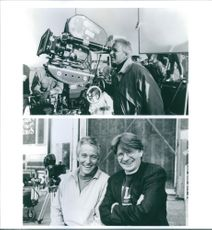 """Pat Proft and Jim Abrahams on the set of a 1993 comedy/parody film, """"Hot Shots! Part Deux""""."""