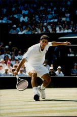 Action shot on Pete Sampras taken during the final in Wimbledon in 1994. A final as Sampras won.