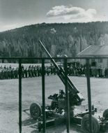 "A large number of crowds gathered to see a cannon in Sundsvall.  ""Sundsvall__""  1943"