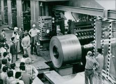 A view of the new rolling mill, Wuhan Iron and Steel Company. 1980.