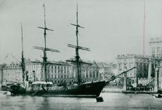 Contemporary illustration of Adolf Nordenskiöld's departure with Vega 1878 through the North East Passage