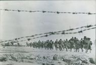 1945 Italians captured in Tunisia march into American Detention Camp Italian prisoners carrying packs and blankets marched into an American detention camp in Central Tunisia.