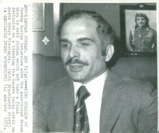 King Hussein of Jordan is interviewed by the Associated Press