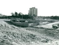The land at Värmdöleden where the plans at a large center in Nacka became a long trial