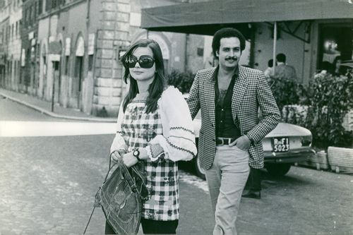 Ewa Aulin and Ibrahim Monssier walking together. Photo taken on July 11, 1972.