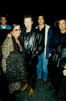 Mickey Rourke with his grandmother outside Bowery Bar.