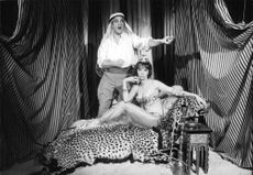 Leslie Caron with a man, performing in costume