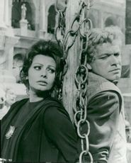 Italian actress Sophia Loren in the scene with opponent