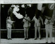 Olympiaelden arrives at Lake Placid at the welcome ceremony at the ski school before the 1980 Winter Olympics