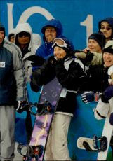 Nicola Toast from Germany Gold Medalist in Women's Half Pipe, Snowboard during the Winter Olympics in Nagano.