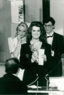 Actress Brooke Shields receives statue at the Ceasar Awards