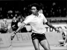 American tennis player Arthur Ashe during the Davis Cup in 1978