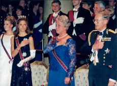 Crown Princess Victoria together with Cecilia Nilsson and Gustaf Welin on Innocentord's gala dinner at Grand Hotell