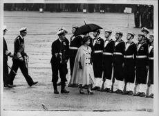 Queen Elizabeth II and Prince Philip inspect the parade at the Horse Guards