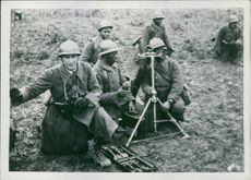 Near the front, a mortar exercise by Senegalese riflemen.