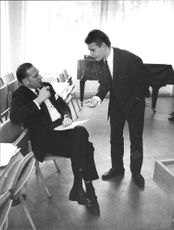 Anders Björk talks with NK manager Erik Soderberg during the Conservative Party's meeting on Åsö Gymnasium
