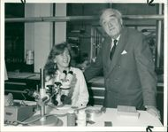 Viscount William Whitelaw with a young technician
