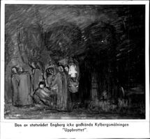 "A painting by Carl Kylberg. Caption reads: The unsuccessful Kylberg painting ""The break"" by the Engberg government."