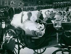 Marriage ceremony of Princess Birgitta of Sweden and Prince Johann Georg of Hohenzollern in 1961.
