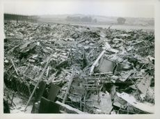 The large numbers of German planes brought down during raids on Britains makes a substantial contribution to the National scrap metal salvage campaign. The wrecked planes have been dumped at various metal and produce recovery depots where the valuable mea