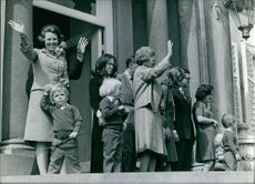 Dutch royal family Beatix , waving hands, Princes Christina.