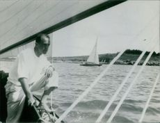 Mehdi Ben Barka riding on his yacht.