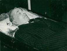Jan Masaryk lying in his coffin.