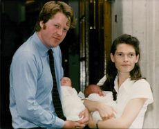 Earl Spencer and wife Victoria with their twin daughters